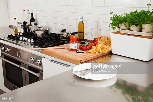 Food and utensils in kitchen