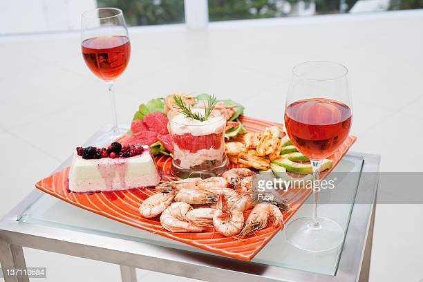Food and wine on table