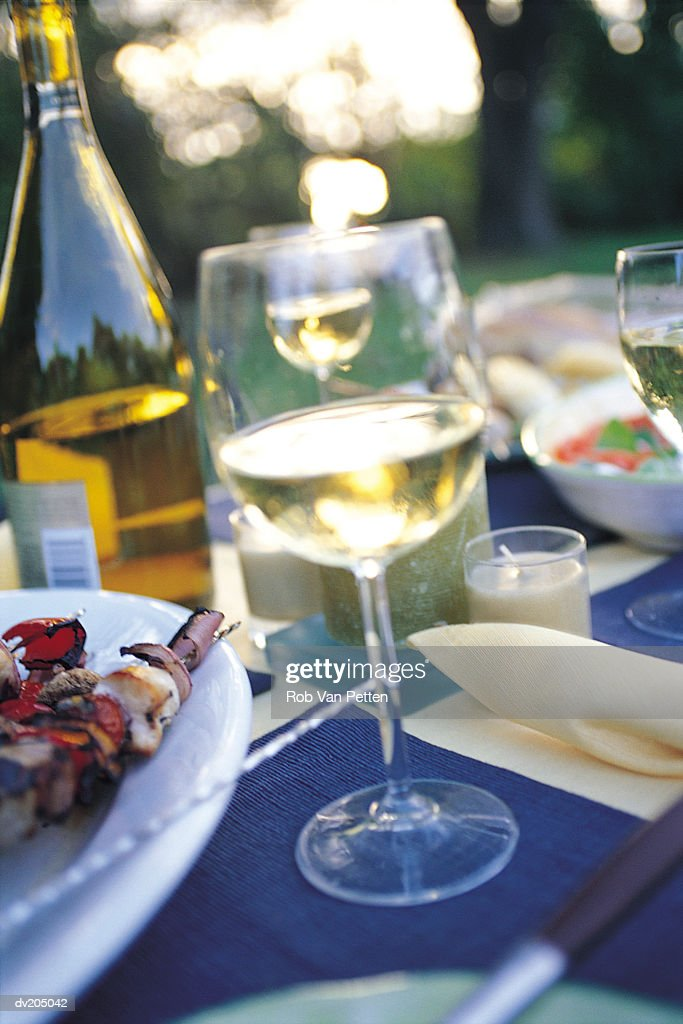 Food and wine on table : Stock Photo