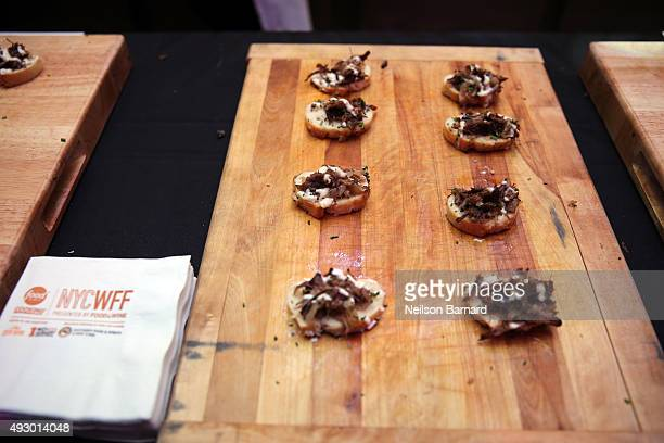 Food available at a chef station the Blue Moon Burger Bash presented by Pat LaFrieda Meats hosted by Rachael Ray Food Network Cooking Channel New...