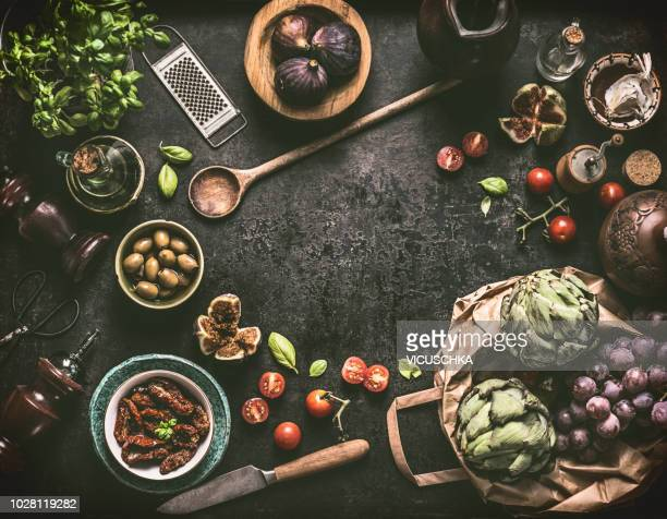 Food background frame with mediterranean cooking ingredients