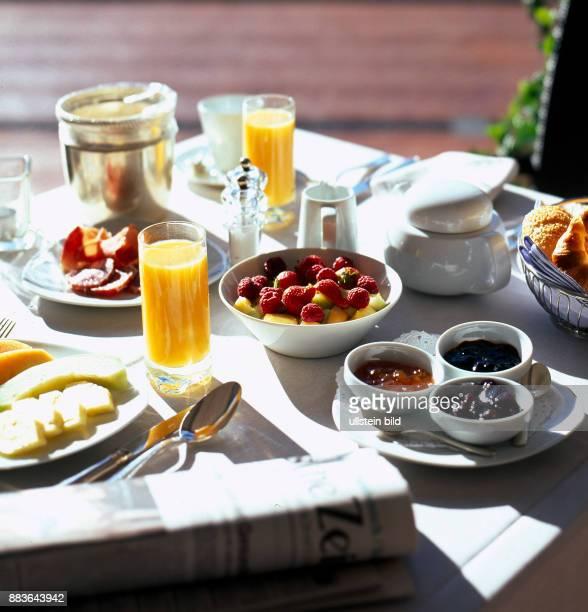 Food Beverage Breakfast with coffee cup cheese ham fruit pineapple Papaya fruit juice