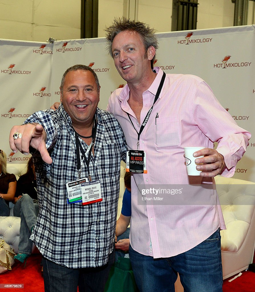 Food & Beverage Magazine Publisher Michael Politz (L) and Hot Mixology host Dave Elger attend the 29th annual Nightclub & Bar Convention and Trade Show at the Las Vegas Convention Center on March 25, 2014 in Las Vegas, Nevada.