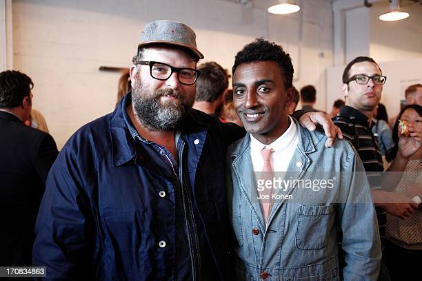 Food blogger Rohan Anderson and Chef Marcus Samuelsson attend the Apolis Summer Speaking Series Kickoff Event With Chef Marcus Samuelsson And Rohan...