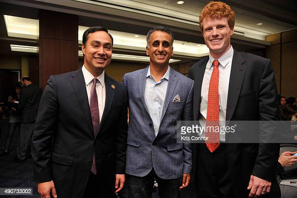 Food Chains Panelist Sanjay Rawal Rep Joaquin Castro and Rep Joseph Kennedy attend a private screening of Food Chains in the Capitol Visitors Center...