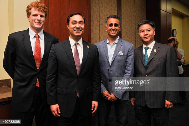 Food Chains Panelist Sanjay Rawal Rep Joaquin Castro Rep Joseph Kennedy and Rep Ted Lieu attend a private screening of Food Chains in the Capitol...