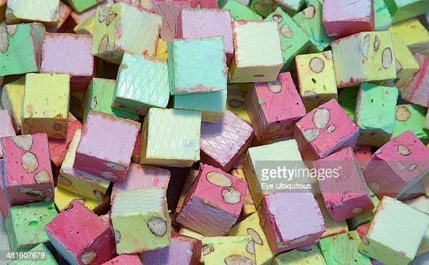 Food Confectionery Sweets Mullti colored nougat for sale in a market in ShorehambySea