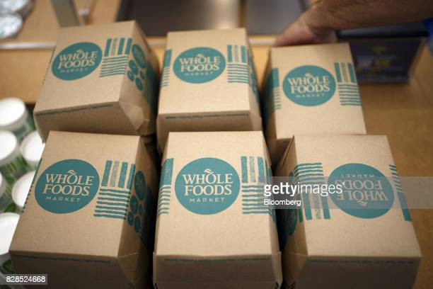 Food containers are seen during the grand opening of a Whole Foods Market 365 location in Santa Monica California US on Wednesday Aug 9 2017 The...