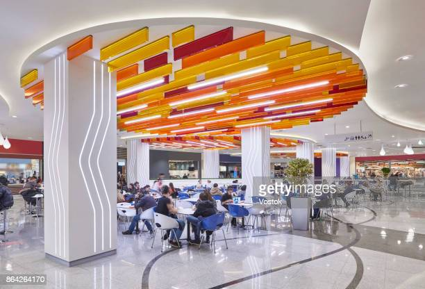 food court in the new shopping mall in moscow - shopping mall stock pictures, royalty-free photos & images