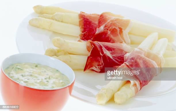 Food Court white asparagus with eggs Bozner sauce mayonnaise potato bacon