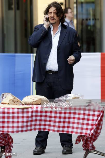 Food critic Jay Rayner seen filming the 'One Show' at the BBC Studios Portland Place on July 09 2014 in London England