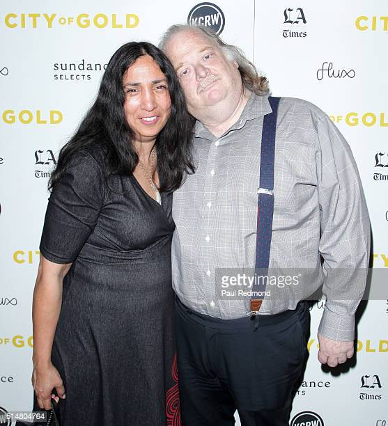 Food critic Jonathan Gold and his wife newspaper editor Laurie Ochoa attend the premiere of City Of Gold at Grand Central Market on March 10 2016 in...