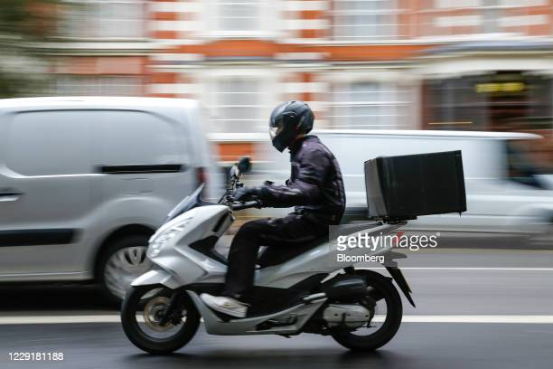 Food delivery courier travels through the Maida Vale district of London, U.K., on Thursday, Oct. 8, 2020. Covid-19 lockdown enabled online and...