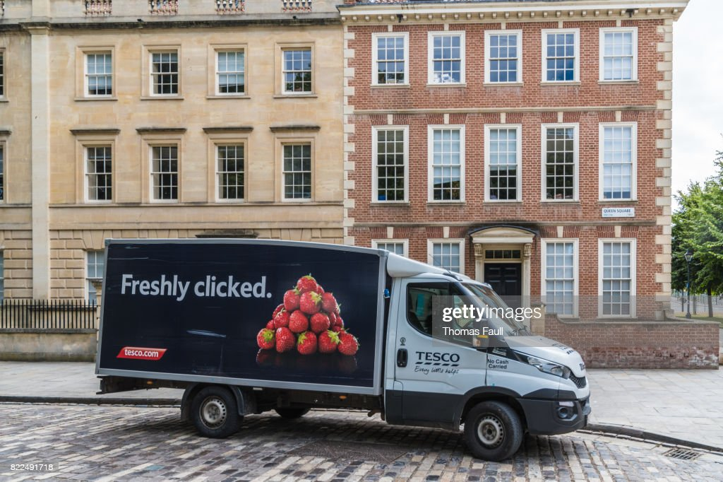 Food delivery van parked in Bristol : Stock Photo
