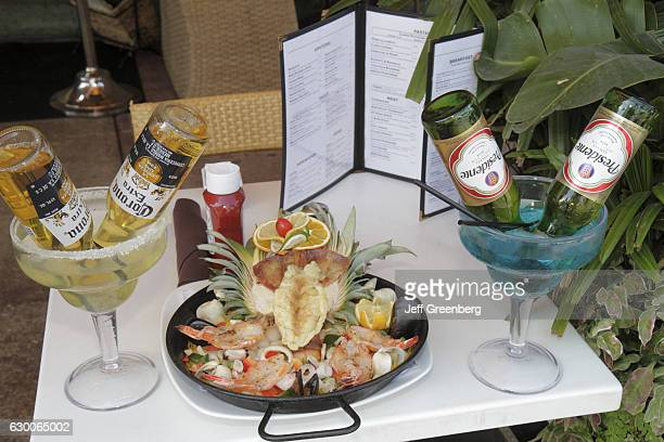 Food display at a restaurant on 'Ocean Drive'