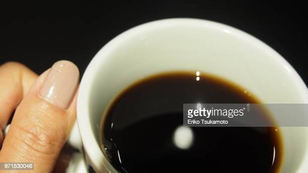 POV Food  drinking a black coffee