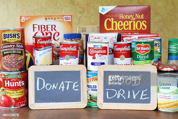 Food Drive concept with assortment of groceries