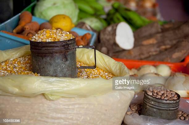 Food for sale on local market, Municipal Market, Mindelo (Porto Grande), Island of Sao Vicente, Cape Verde Islands