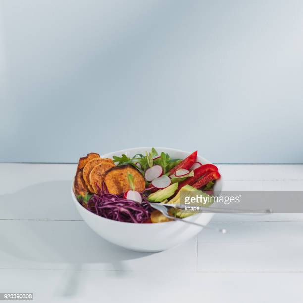 food fresh vegan vegetarian salad and vegetables blue bright photograph - salad bowl stock pictures, royalty-free photos & images