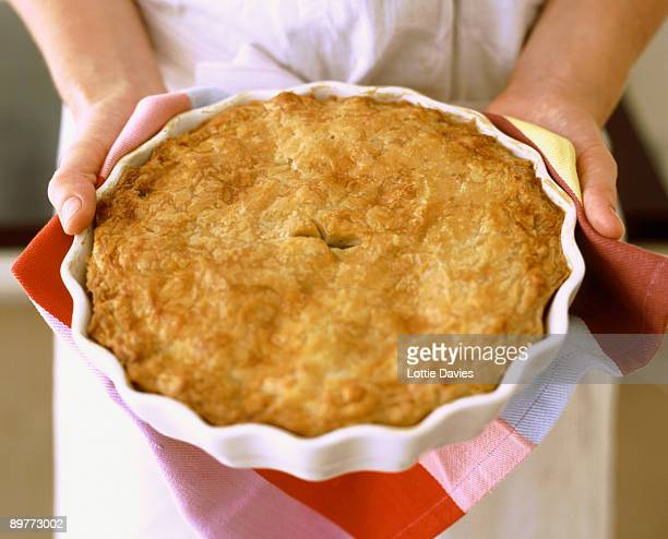 food - hands holding fresh pie - sweet pie stock pictures, royalty-free photos & images