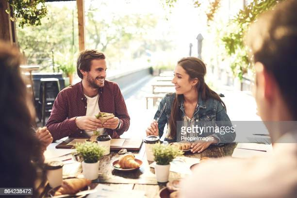 food has a way of making the conversation better - lunch stock pictures, royalty-free photos & images