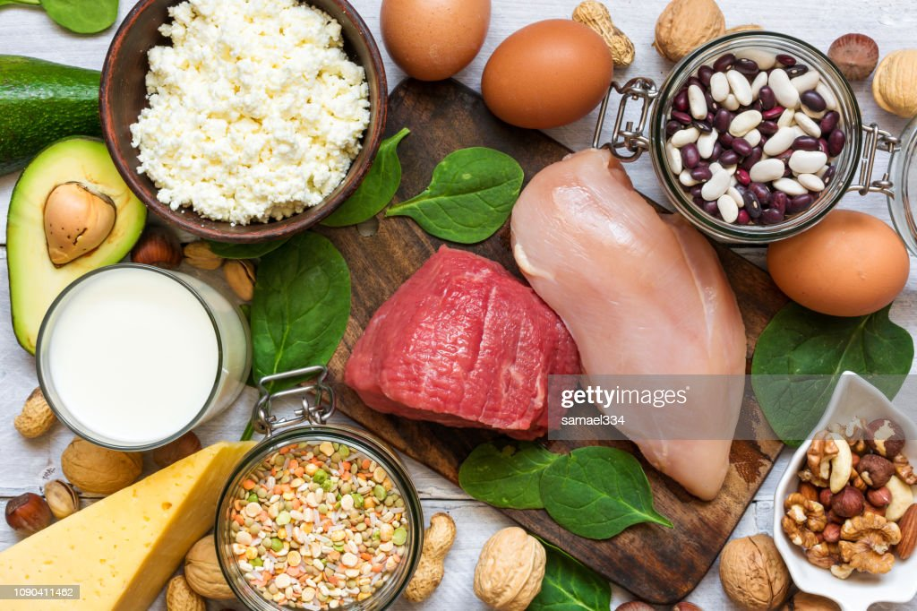 Food high in protein. Healthy eating and diet concept. : Stock Photo
