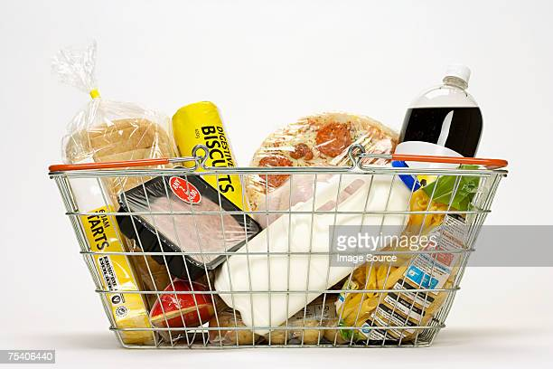 Food in a shopping basket