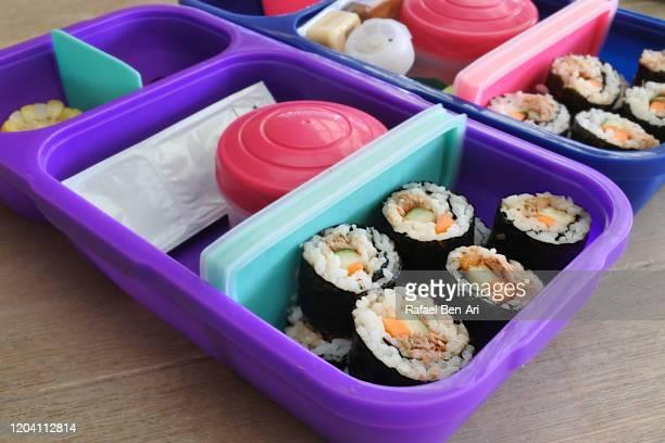 food in bento lunch box - rafael ben ari stock-fotos und bilder