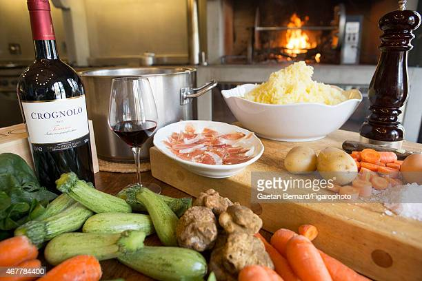Food in Italian shoe designer Alberto Moretti's kitchen is photographed for Madame Figaro on October 8 2014 in Tuscany Italy CREDIT MUST READ Gaetan...