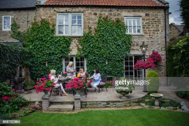 comida en el jardín con amigos - casita de campo fotografías e imágenes de stock