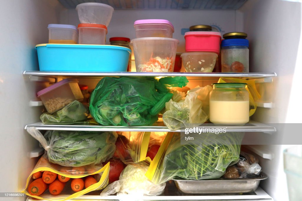 Food inside a refrigerator : Stock Photo
