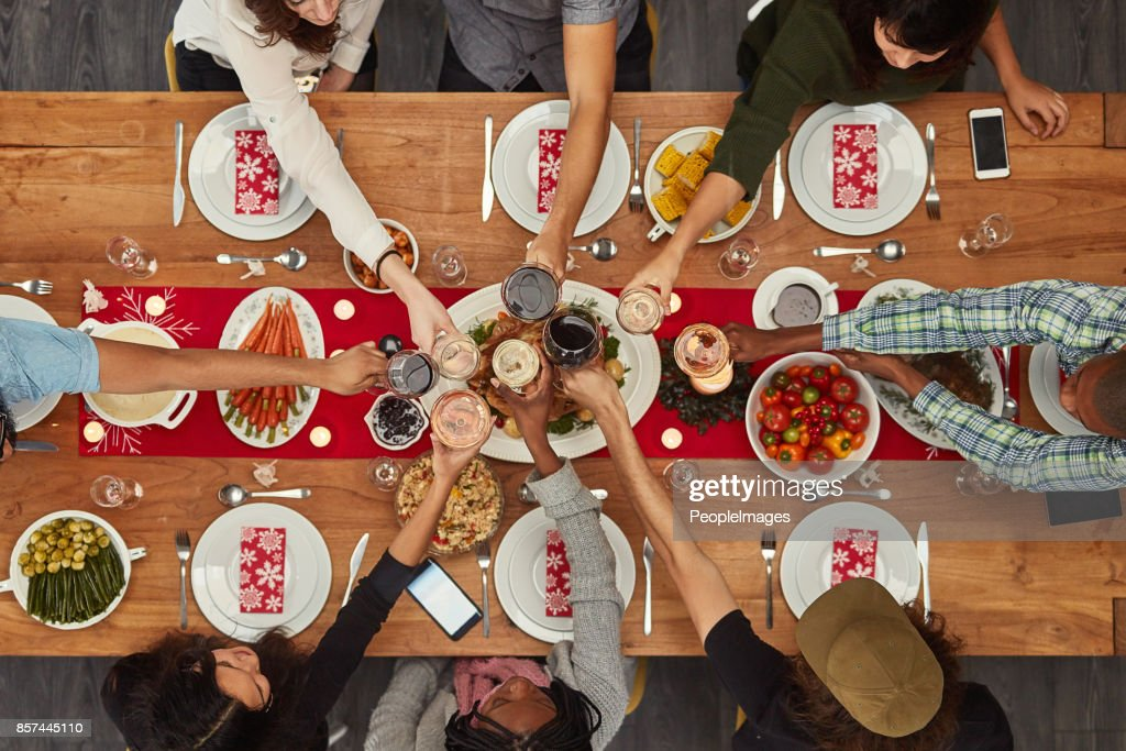 Food is best enjoyed with friends : Stock Photo