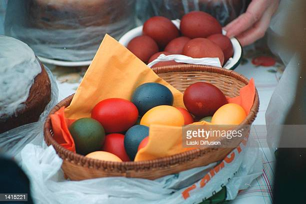 Food is blessed at a Russian Orthodox Easter Service April 30 2000 in Moscow Russia Easter the anniversary of the death and resurrection of Jesus...