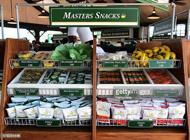 Food is dispayed for sale during a practice round prior to the start of the 2016 Masters Tournament at Augusta National Golf Club on April 5 2016 in...