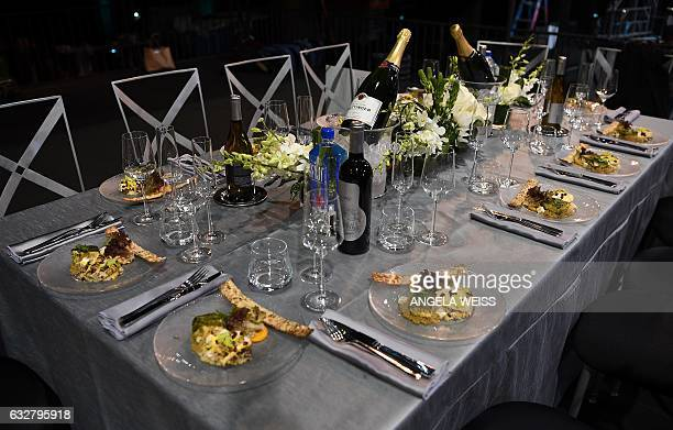 Food is displayed at the SAGAFTRA Auction Display and The 23rd Annual Screen Actors Guild Awards behind the scenes event at The Shrine Expo Hall on...