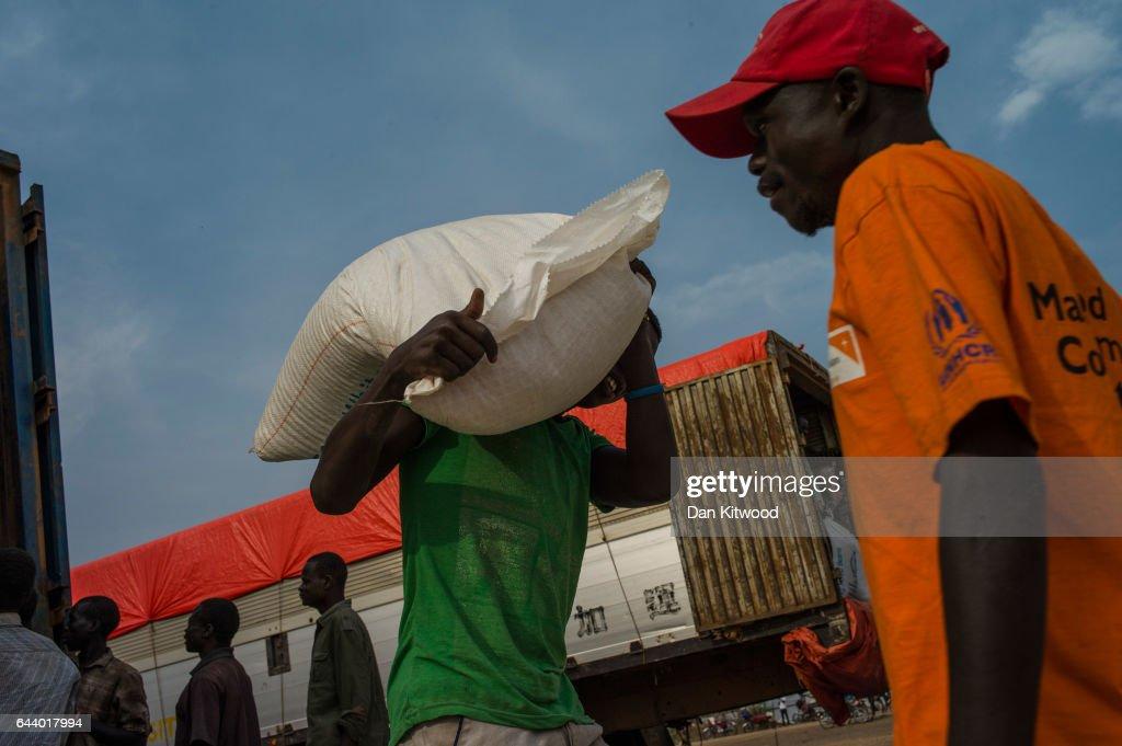 Food is distributed by WFP, 'World Food Programme' at the Bidi Bidi