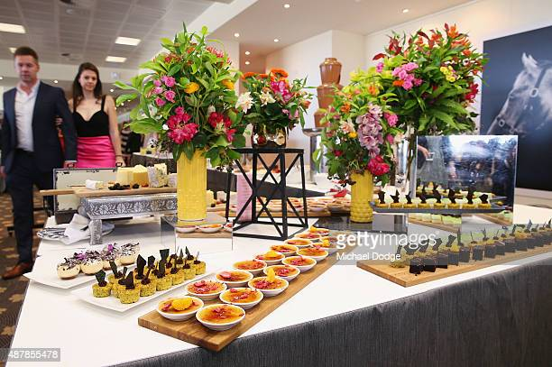 Food is laid out at the dessert buffet in the Panorama Restaurant during Melbourne Racing at Flemington Racecourse on September 12 2015 in Melbourne...