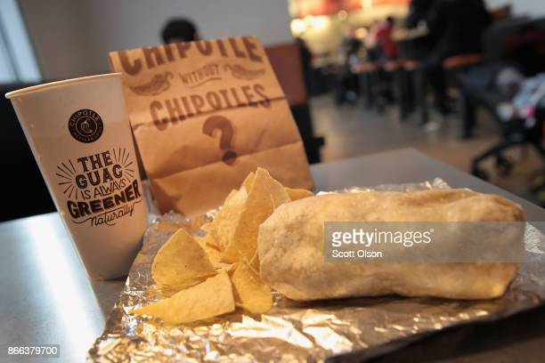 Food is served at a Chipotle restaurant on October 25 2017 in Chicago Illinois Chipotle stock fell more than 14 percent today after a weak 3Q earnings