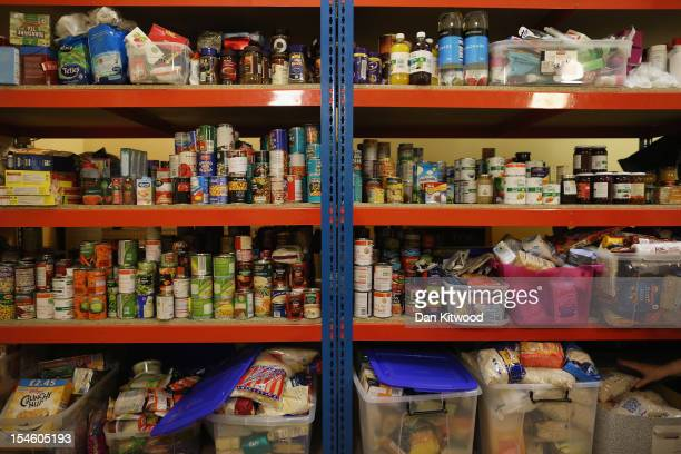 Food is stacked on shelving at a Food Bank depot at St Paul's Church in Brixton on October 23 2012 in London England The need for food banks has...