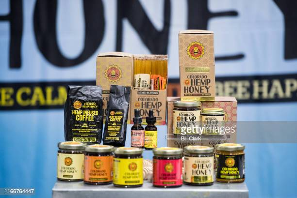 Food items such as hemp infised coffee and honey on display at the Southern Hemp Expo at the Williamson County Agricultural Exposition Park in...