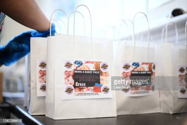 "Food lunch packs for those who are in need of free children's meals over the half term holiday are seen at the ""Planet Youth"" holiday and..."