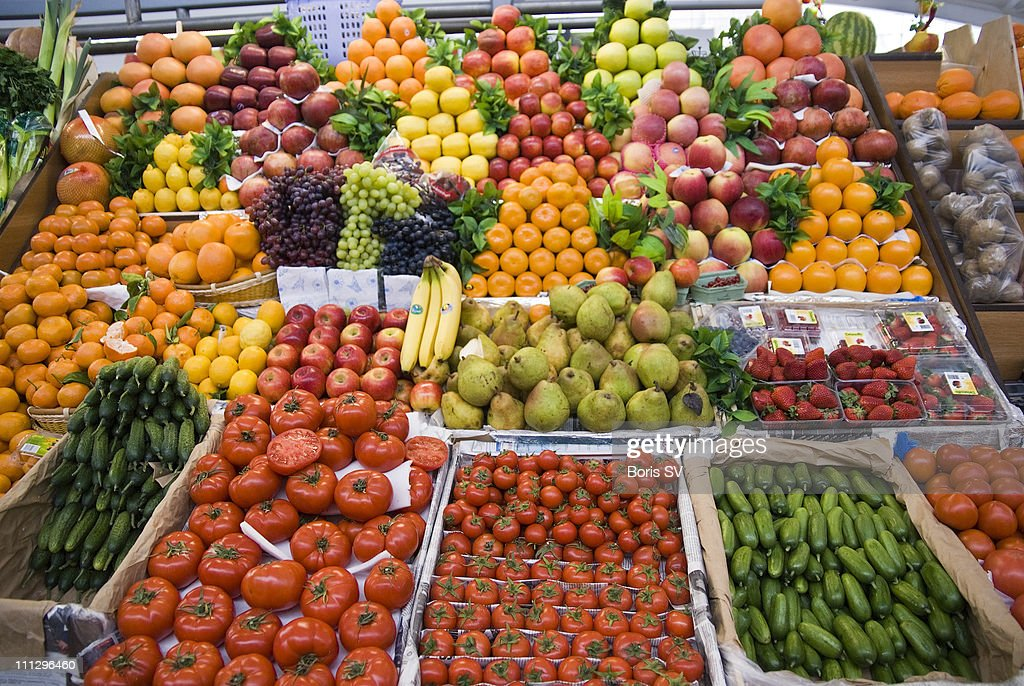 Food Market in Moscow : Stock Photo