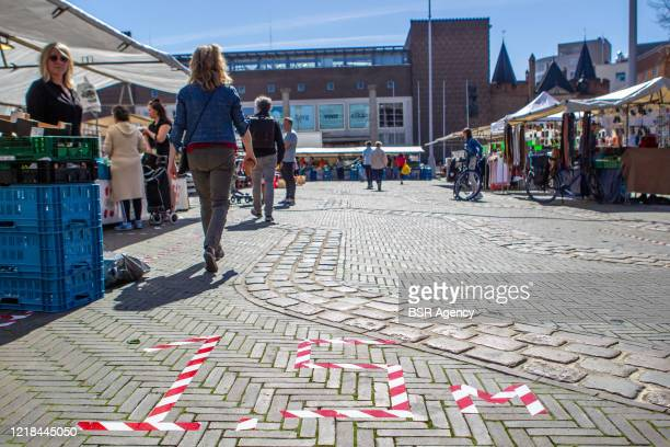 Food market is seen amid the coronavirus outbreak on April 11, 2020 in Arnhem, Netherlands. Due to the current COVID-19 crisis only food markets are...