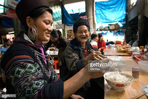 Food market stand serving food Sapa region North Vietnam Asia