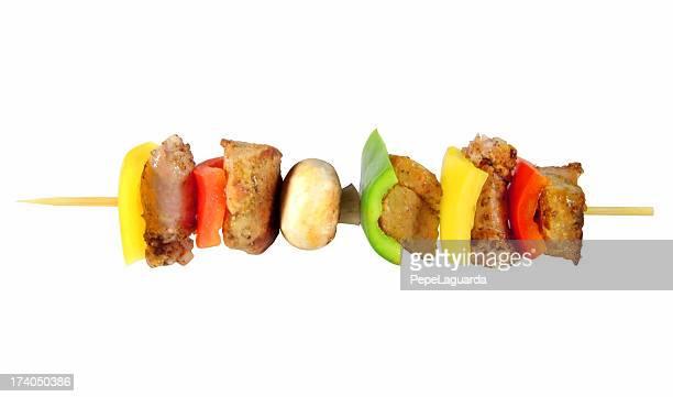 essen: mediterrane grill - bratspieß stock-fotos und bilder