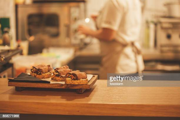 Food on a bar counter