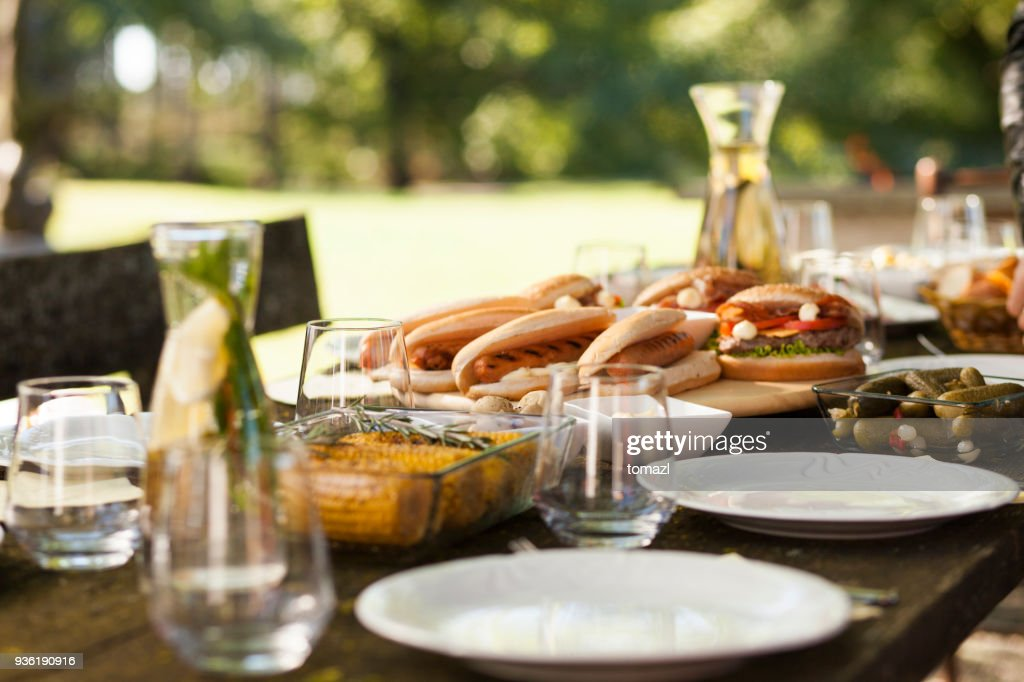 Food on a picnic table : Stock Photo