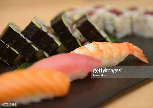 Food on display at Master Sushi Rolling Class With Morimoto during Food Network New York City Wine Food Festival Presented By FOOD WINE at Bank of...