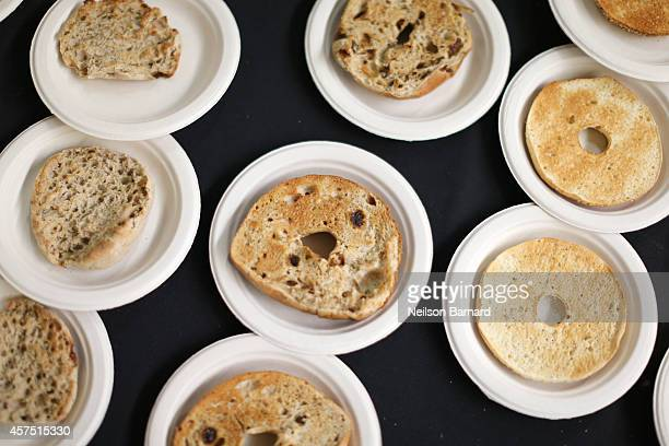 Food on display at the Thomas' English Muffins and Bagels station at the Grand Tasting presented by ShopRite featuring KitchenAid® culinary...
