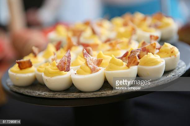 Food on display during the Stories Untold Conde Nast Collection Presented By Getty Images Opening Celebration at The Conde Nast Gallery on March 24...
